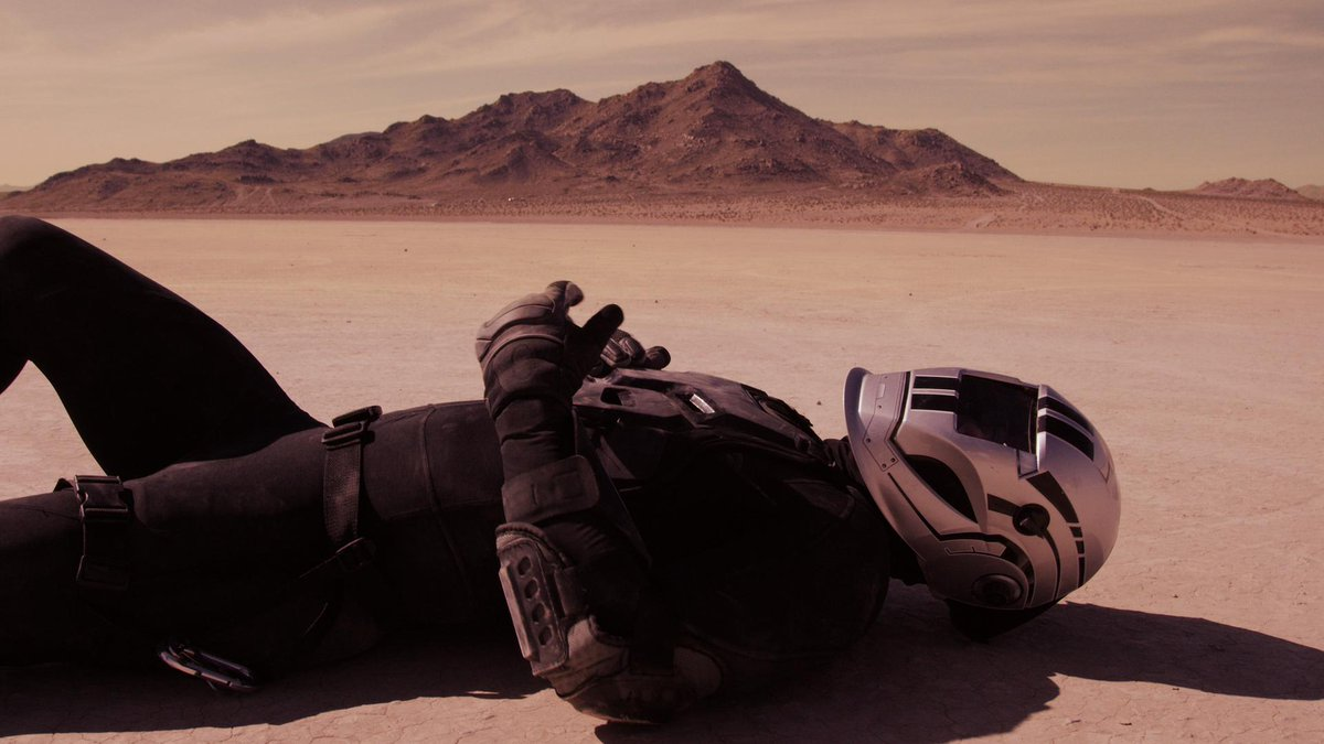 Spacesuited figure on  Mars in Martian Land (2015)