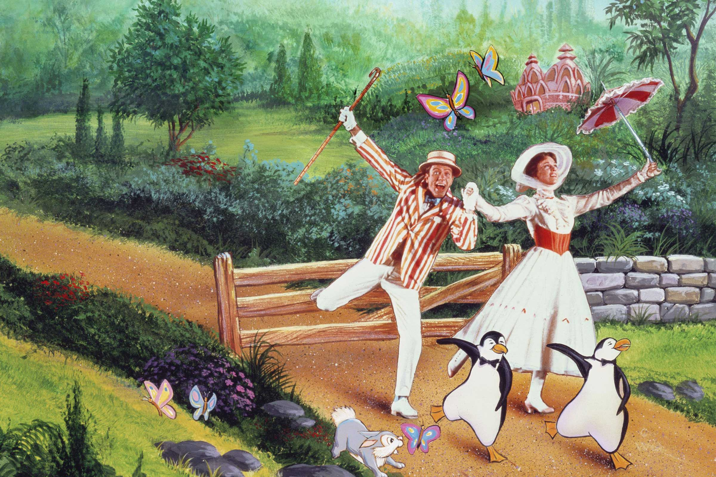 Bert (Dick Van Dyke) and Mary Poppins (Julie Andrews) go dancing with penguins during the animated interlude in Mary Poppins (1964)