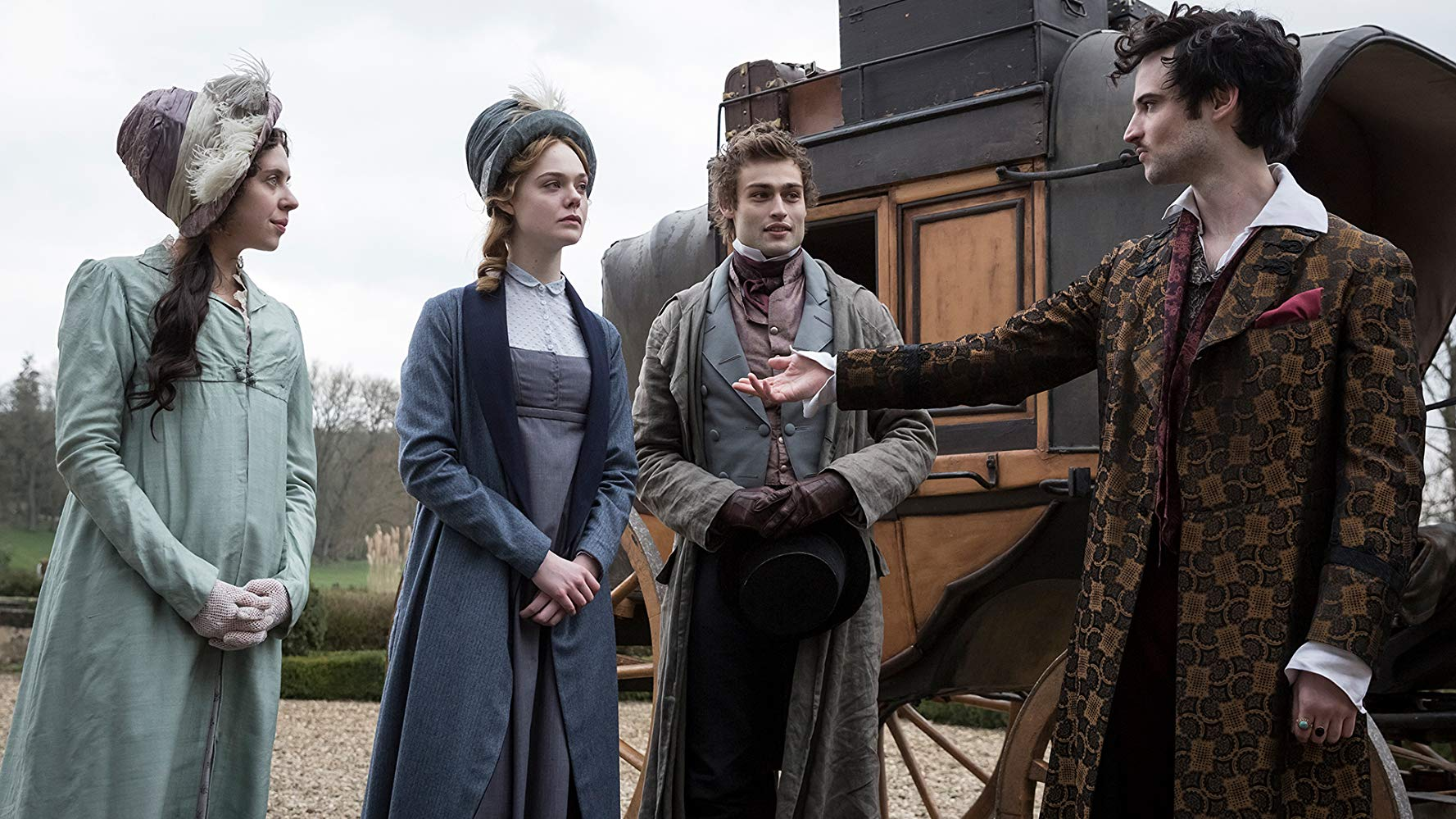 Arrival at the Villa Deodati - Claire Clairmont (Bel Powley), Mary Shelley (Elle Fanning), Percy Shelley (Douglas Booth), Lord Byron (Tom Sturridge)