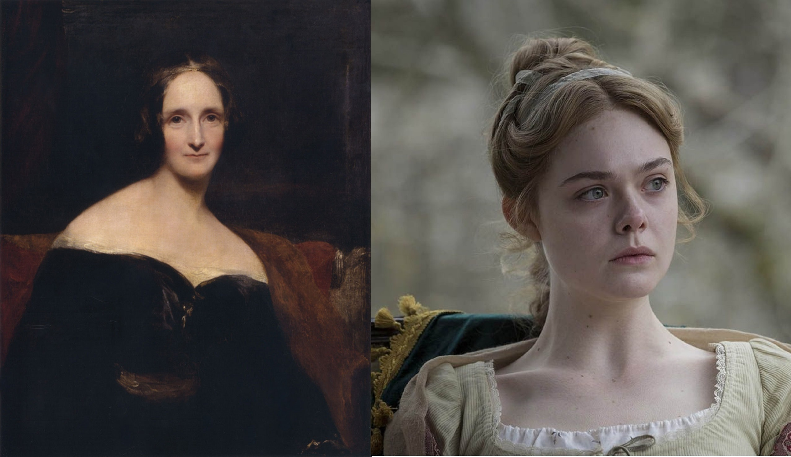 Portrait of Mary Shelley vs Elle Fanning playing Mary Shelley in the film