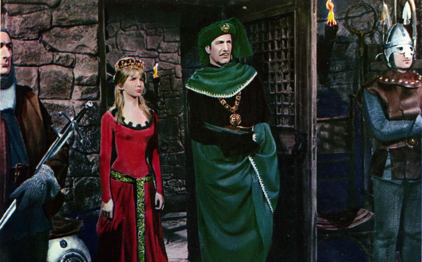 Prince Prospero (Vincent Price) and his sister Francesca (Jane Asher) in The Masque of the Red Death (1964)