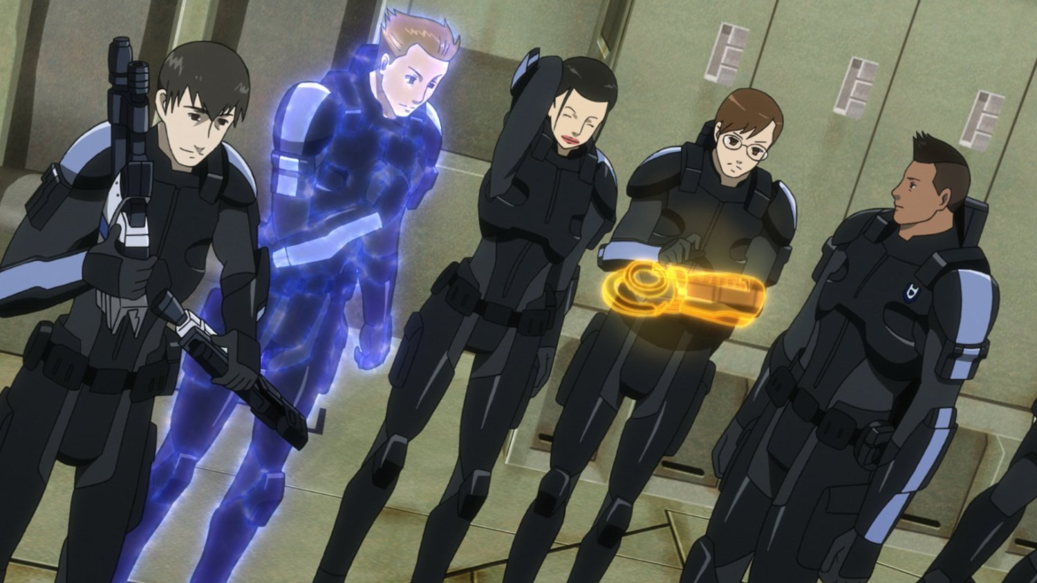 Lieutenant James Vega (r) readies his team against the invaders in Mass Effect: Paragon Lost (2012)