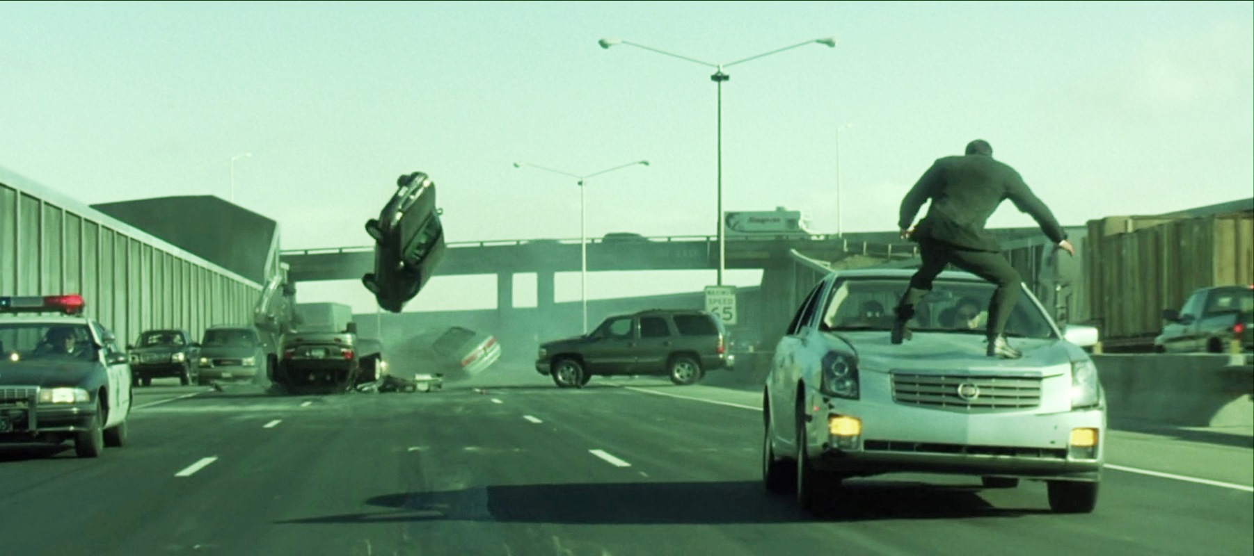The showstopping highway action sequence in The Matrix Reloaded (2003)