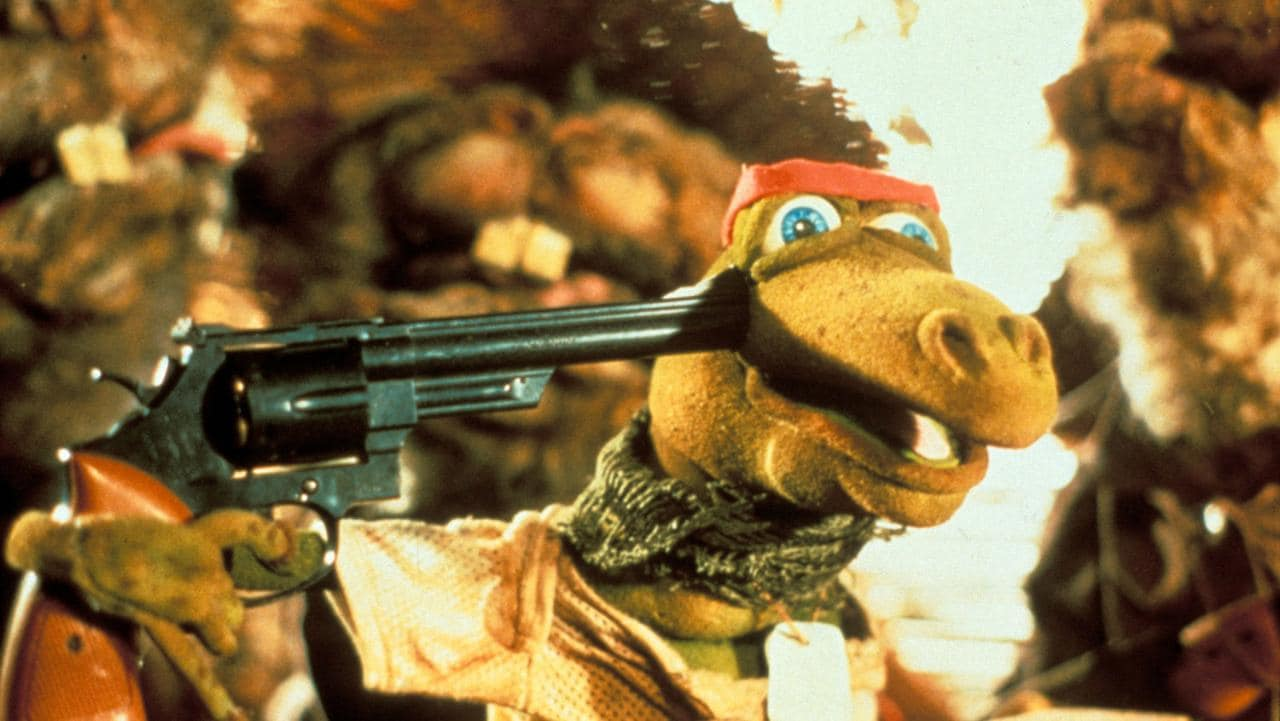 Platoon with puppet frogs in Meet the Feebles (1990)