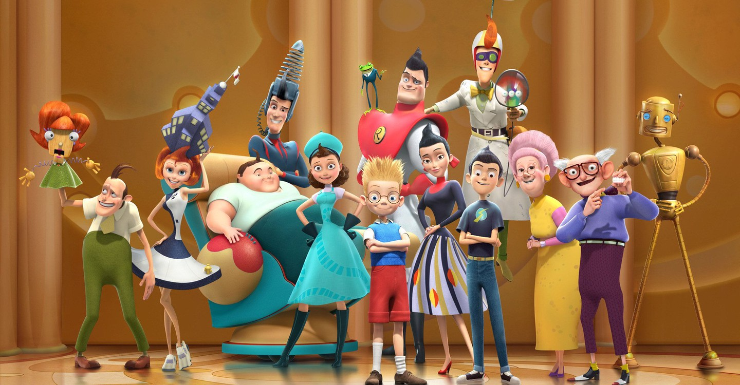 Louis (front centre) surrounded by the eccentric Robinson family in Meet the Robinsons (2007)