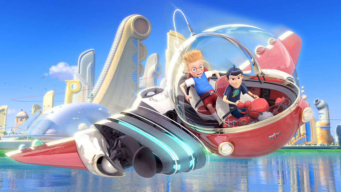(l to r) Louis (voiced by Jordan Fry and Daniel Hansen) is taken to the future by Wilbur Robinson (voiced by Wesley Singerman) in his flying car in Meet the Robinsons (2007)