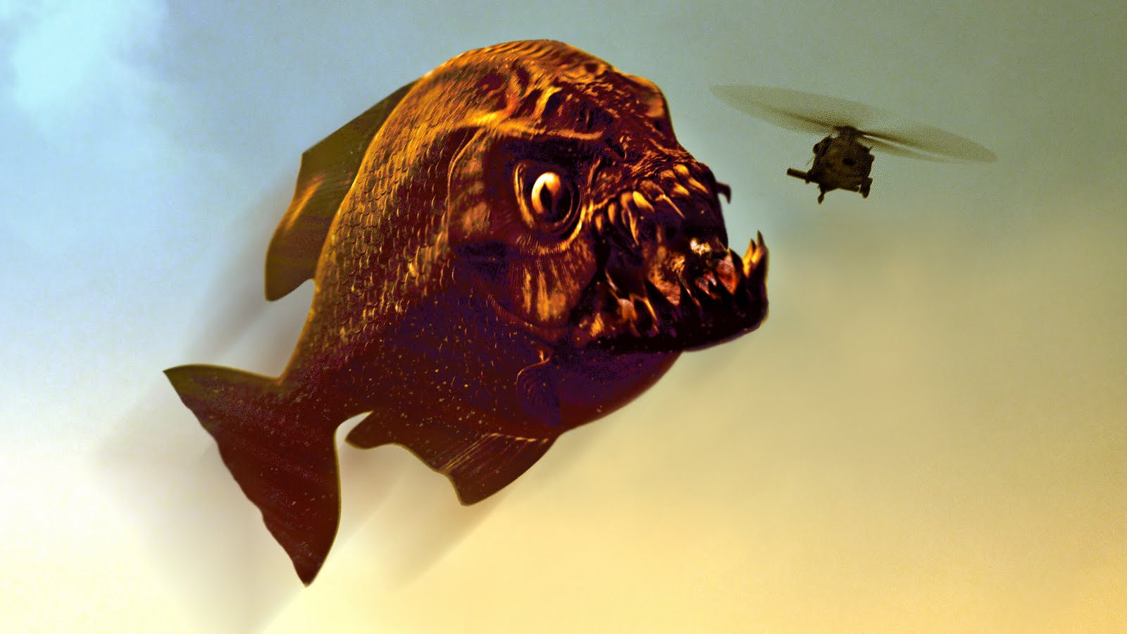 The mega piranha on the attack in Mega Piranha (2010)