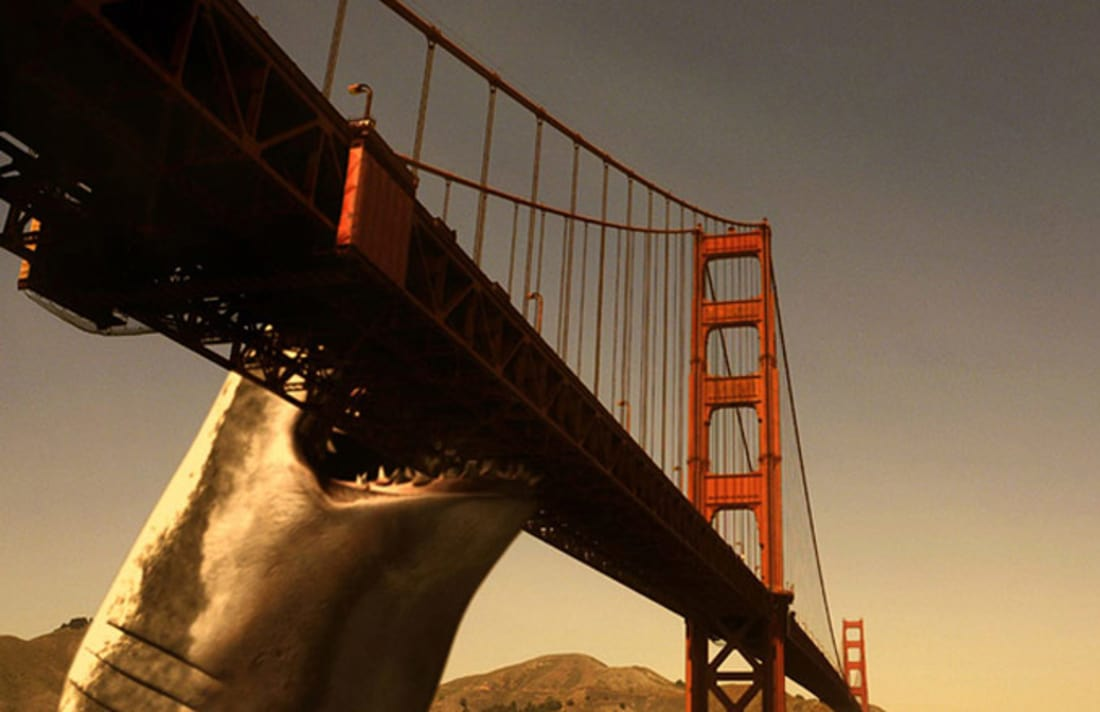 The Mega Shark takes a bite from the Golden Gate Bridge in Mega Shark vs Giant Octopus (2009)
