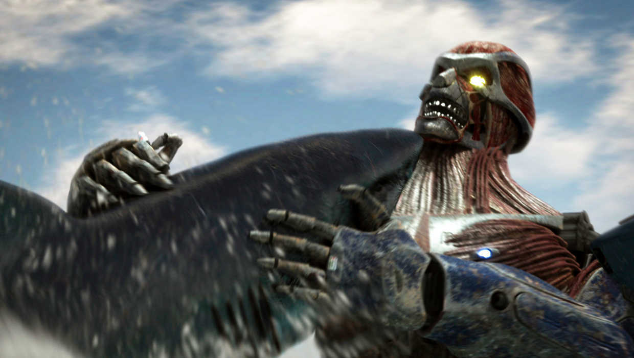 The Mega Shark and the Kolossus robot in combat in Mega Shark vs Kolossus (2015)