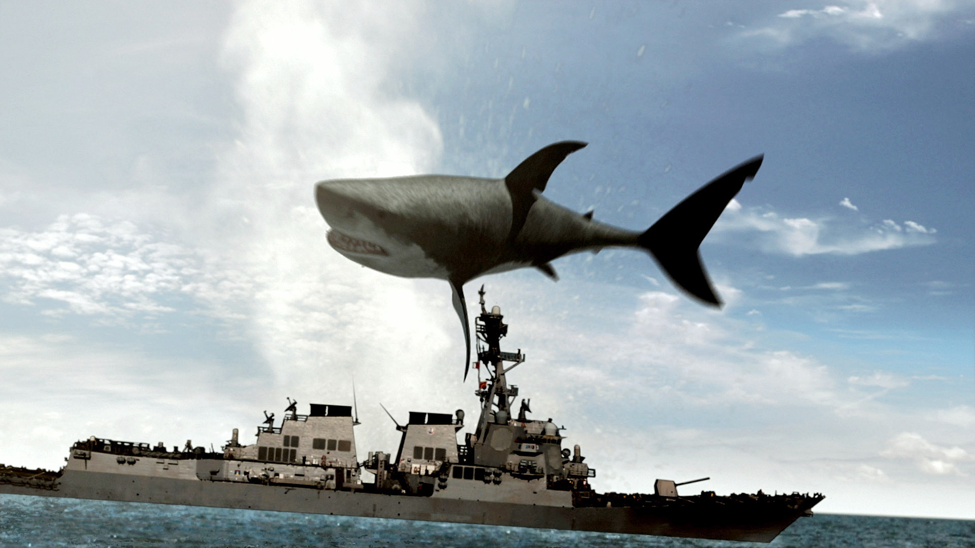 The Mega Shark jumps over a Navy destroyer in Mega Shark vs. Crocosaurus (2010)
