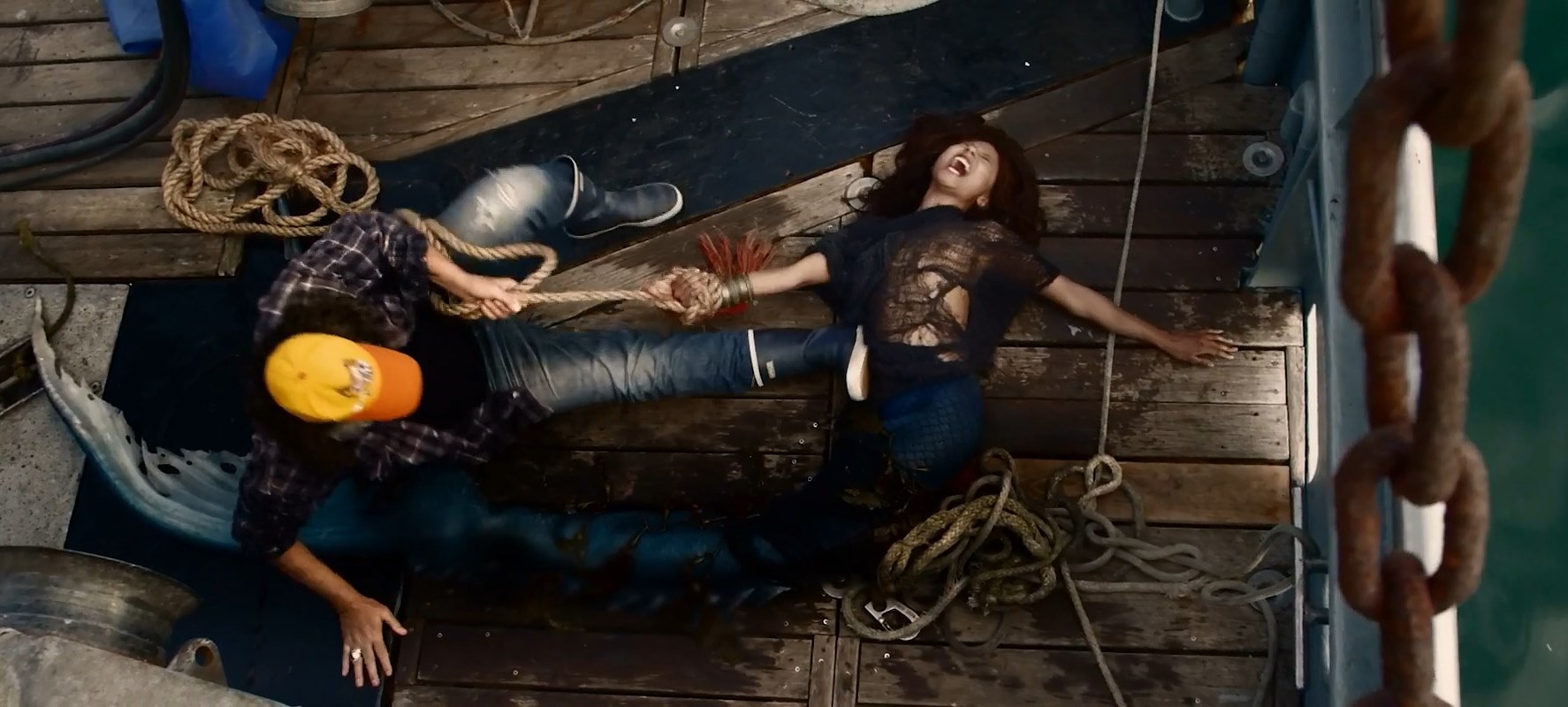 The Mermaid (Alexandra Bokova) captured on the fishing vessel in Mermaid Down (2019)