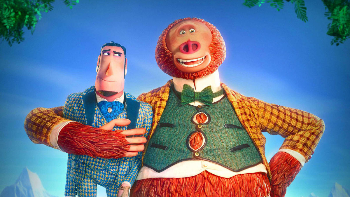 (l to r) Sir Lionel Frost (voiced by Hugh Jackman) and Mr Link (voiced by Zach Galifianakis) in Missing Link (2019)