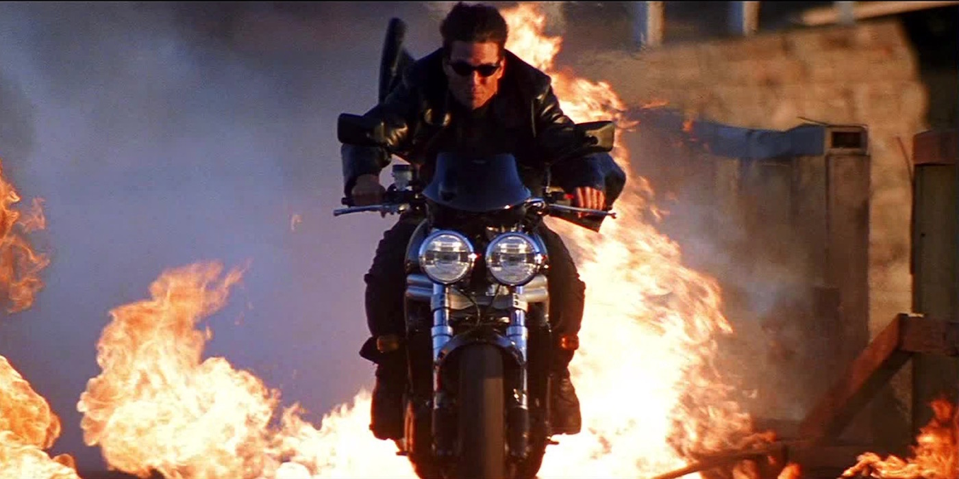 Tom Cruise in a motorcycle stunt sequence in Mission: Impossible II (2000)