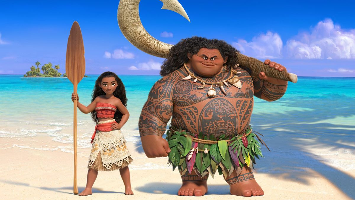 Moana (voiced by Auli'i Cravalho) and Maui (voiced by Dwayne Johnson) in Moana (2016)