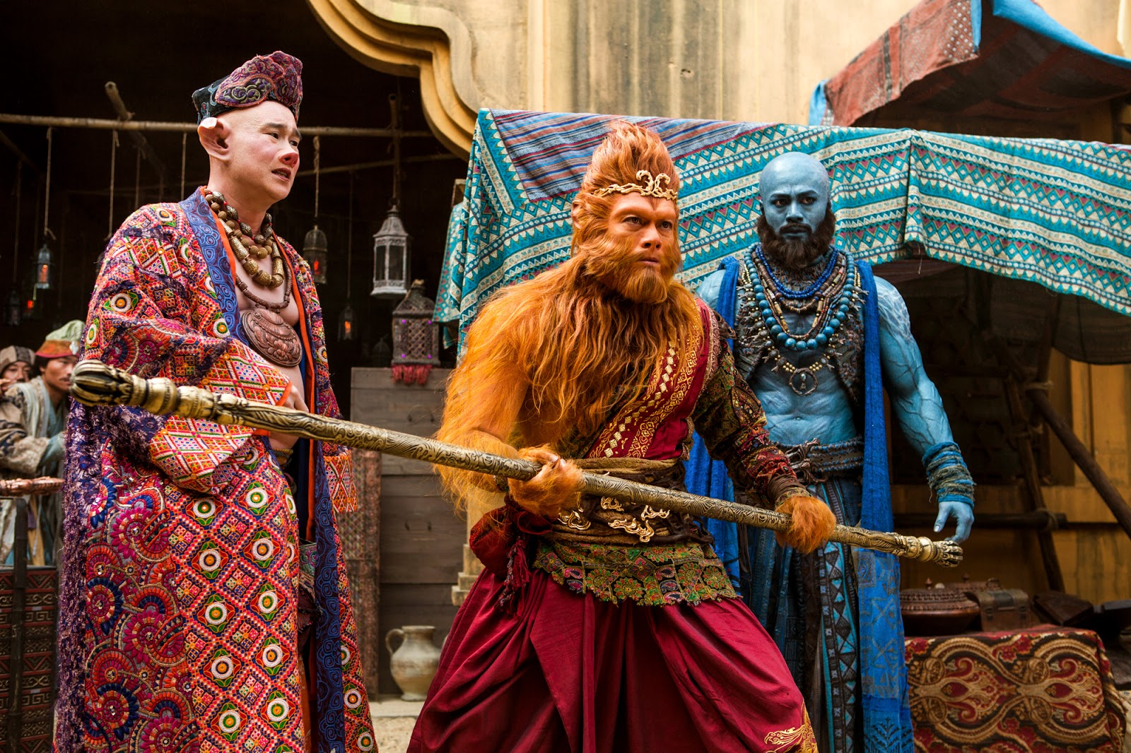 (l to r) Bajie (Xiao Shen Yang, Sun Wukong (Aaron Kwok) and Sha Wujung (Him Law) in The Monkey King 2 (2016)