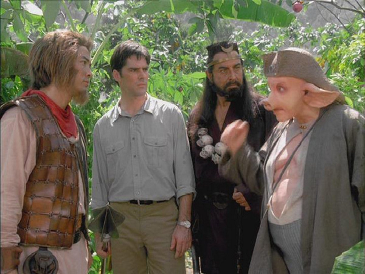 Russell Wong as The Monkey King, scholar Thomas Gibson, Kabir Bedi as Friar Sand and Eddie Marsan as Pigsy in The Monkey King/The Lost Empire (2001)