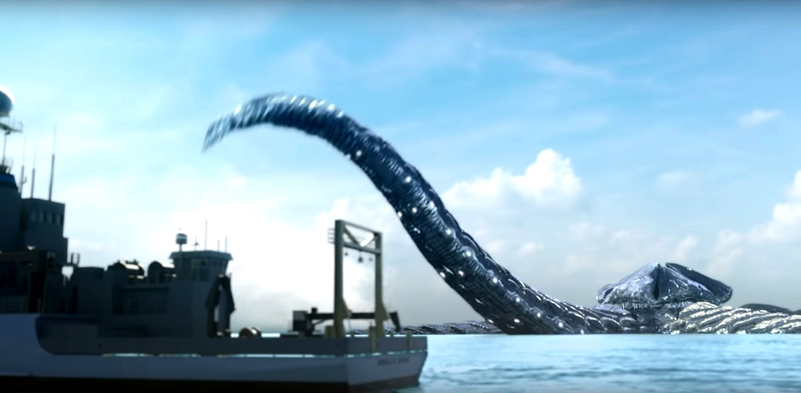 The Kaiju rises from the ocean floor in Monster Island (2019)