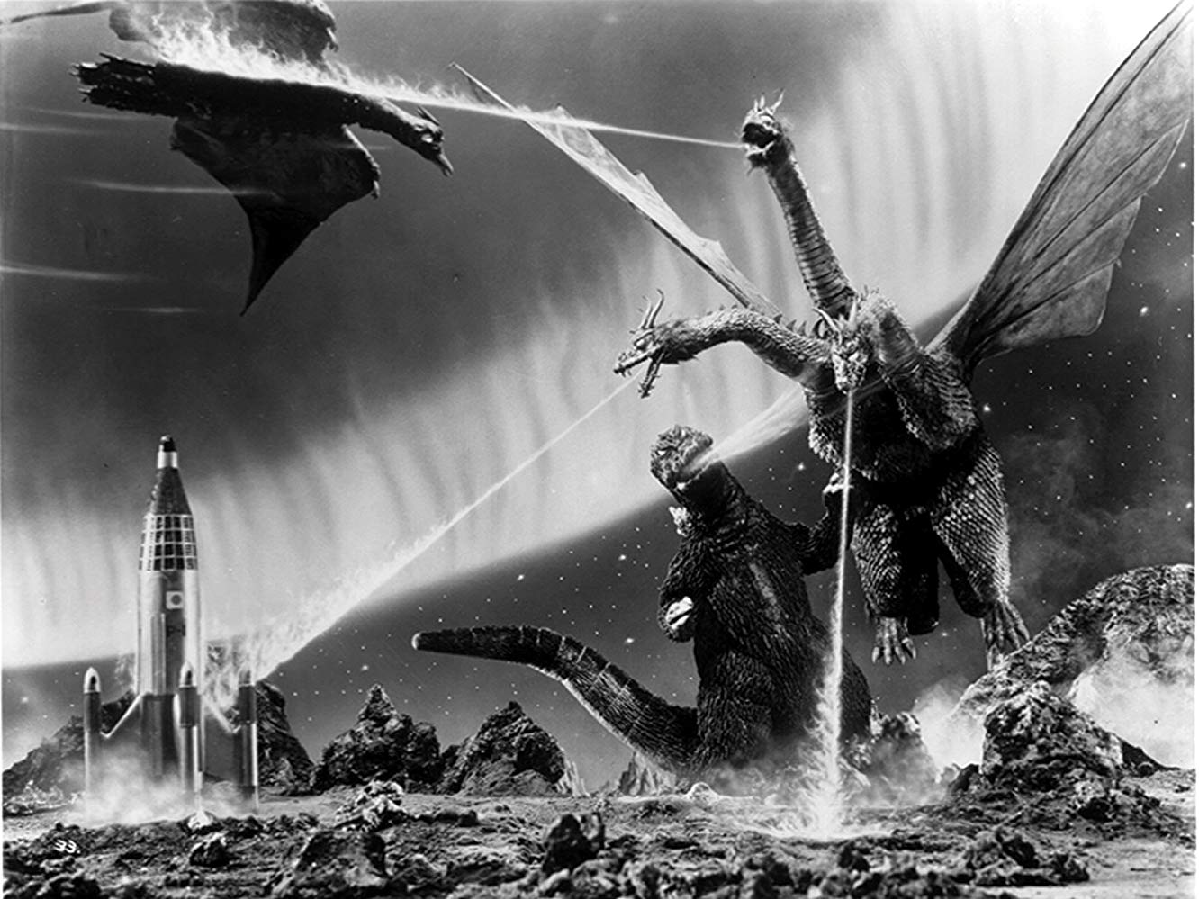 Rodan and Godzilla battle Ghidrah on Planet X in Monster Zero (1965)