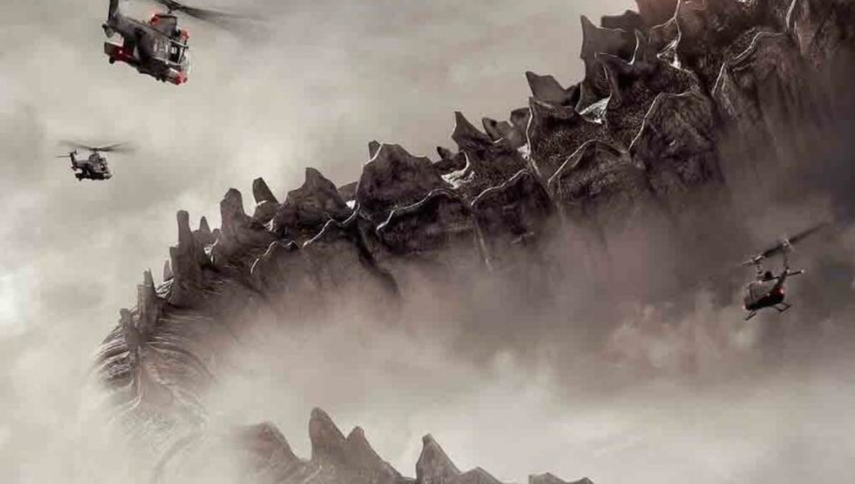 Helicopters fly by giant alien leviathans in Monsters: Dark Continent (2014)
