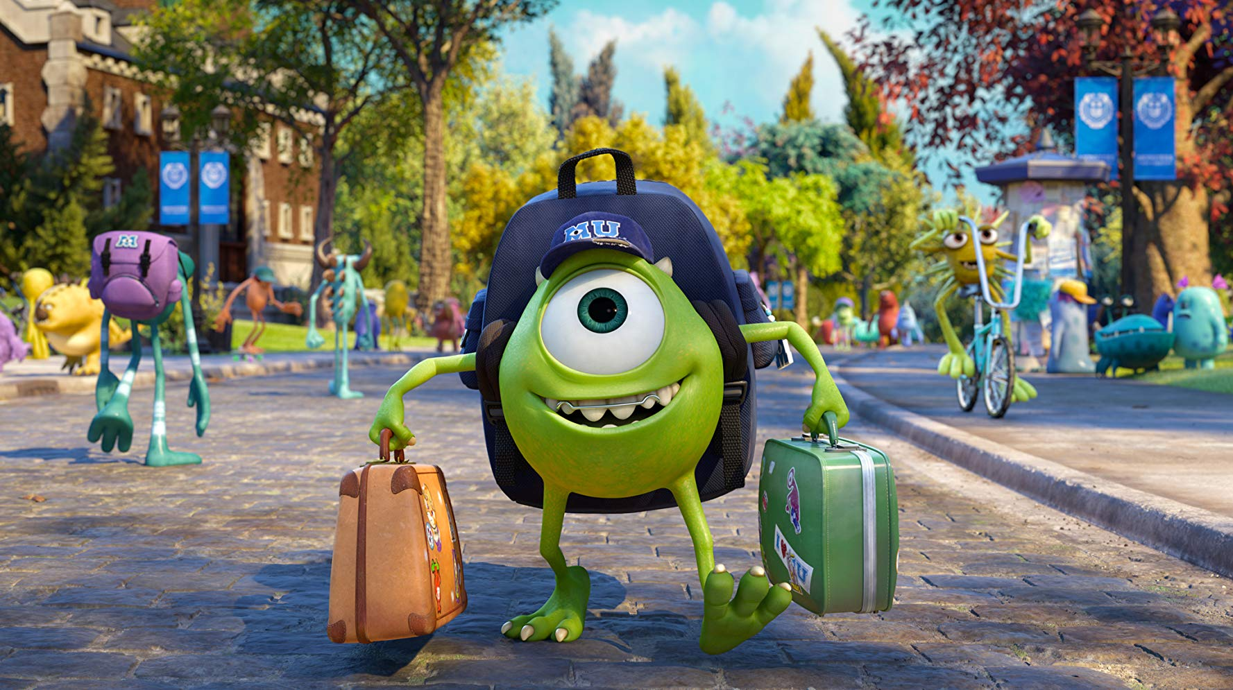 The young Mike Wazowski arrives on campus in Monsters University (2013)