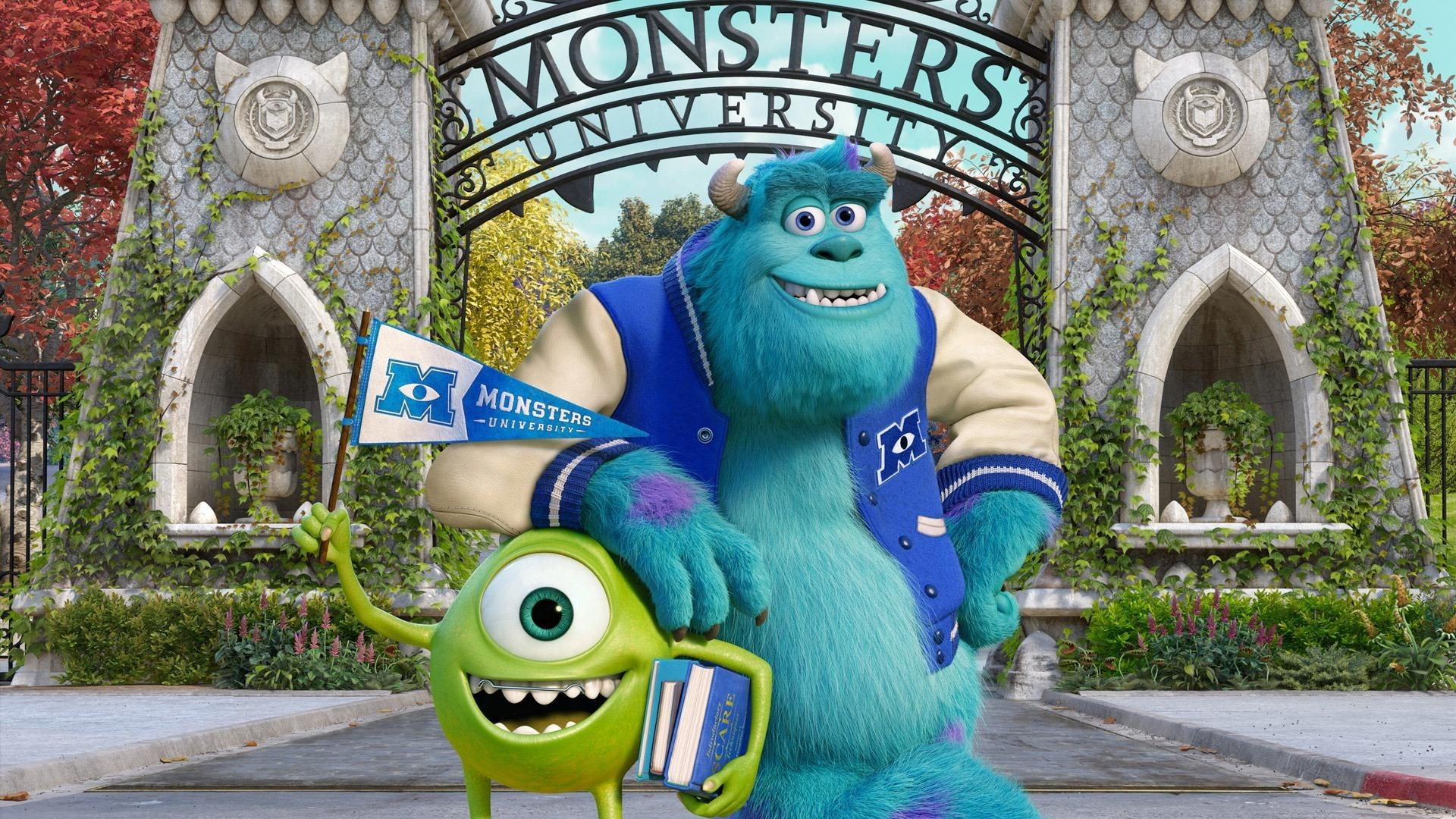 Mike (voiced by Billy Crystal) and Sulley (voiced by John Goodman) go to university in Monsters University (2013)