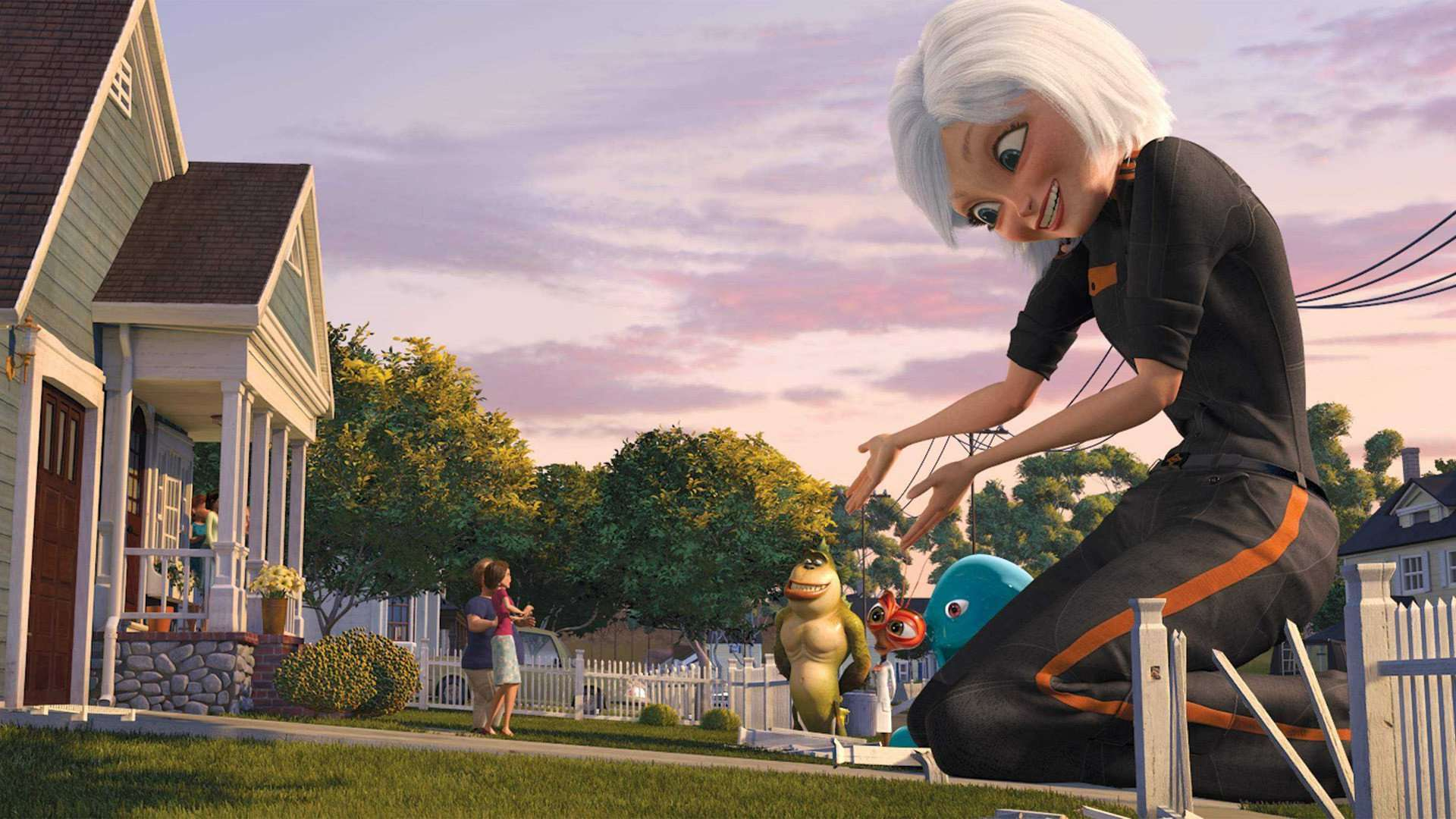 (right from front to back) Susan (voiced by Reese Witherspoon), B.O.B. (voiced by Seth Rogen), Dr Cockroach Phd (voiced by Hugh Laurie) and The Missing Link (voiced by Will Arnett) in Monsters vs Aliens (2009)