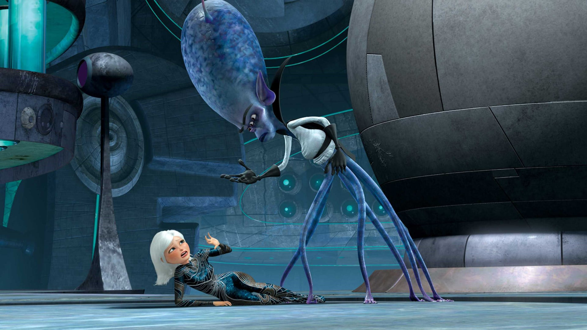 Susan Murphy (voiced by Reese Witherspoon) menaced by intergalactic tyrant Gallaxhar (voiced by Rainn Wilson) in Monsters vs Aliens (2009)