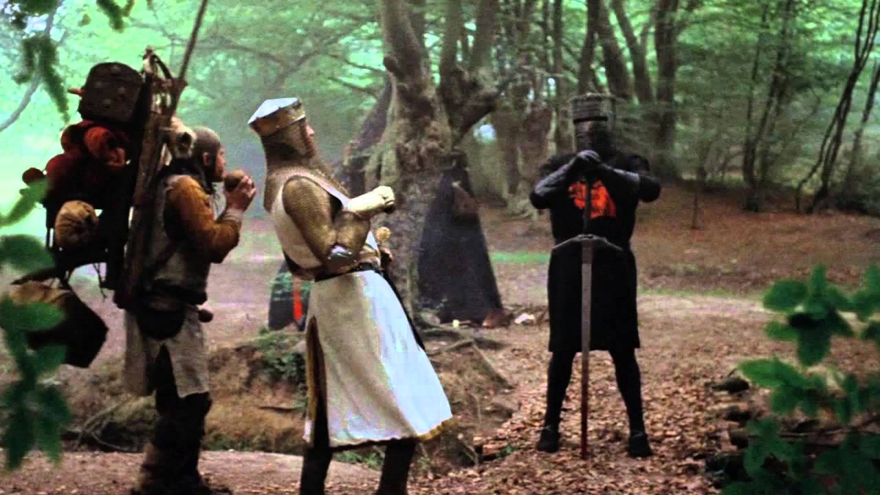 The encounter with the Black Knight from Monty Python and the Holy Grail (1975)
