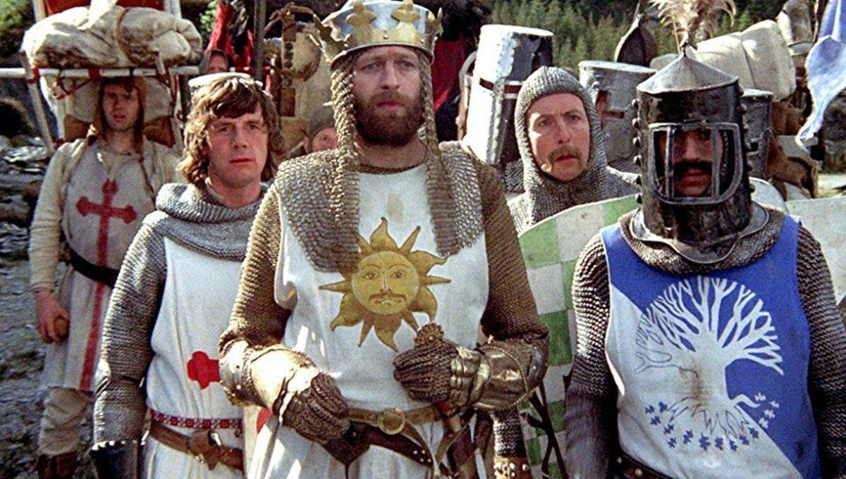 The knights on their quest - (l to r starting second from left) Michael Palin, Graham Chapman as King Arthur and Eric Idle in Monty Python and the Holy Grail (1975)