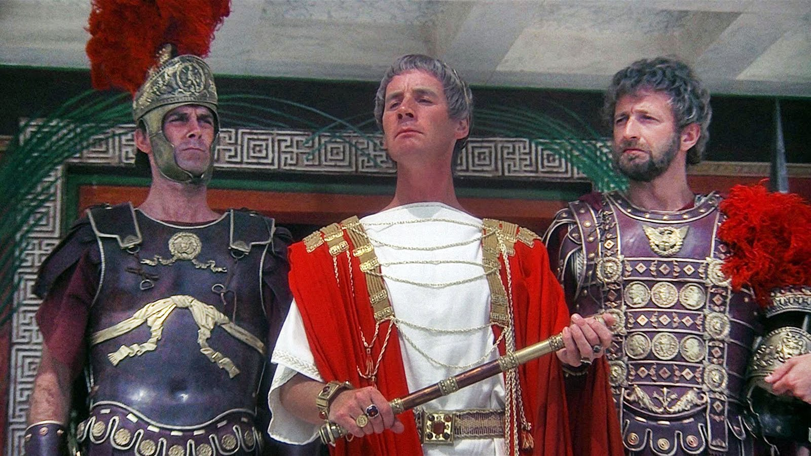 Michael Palin as Pontius Pilate (c) flanked by centurions John Cleese (l) and Graham Chapman (r) in Monty Python's The Life of Brian (1979)
