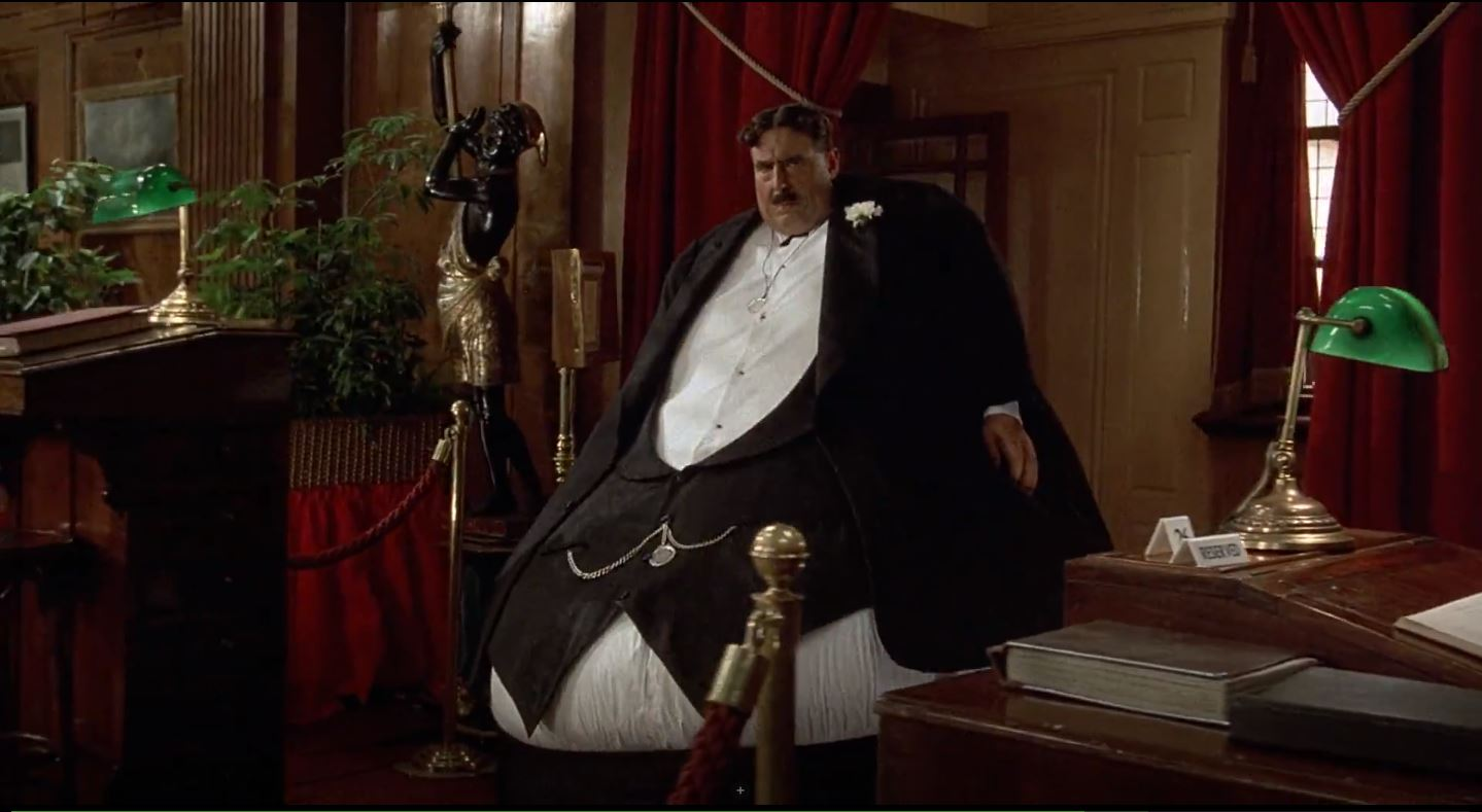 Terry Jones as Mr Creosote in the film's most outrageous sequence in Monty Python's The Meaning of Life (1983)