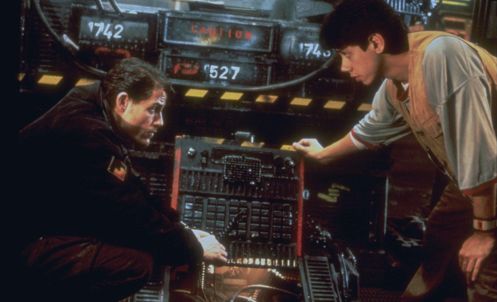 Michael Paré and Dean Devlin in Moon 44 (1990)