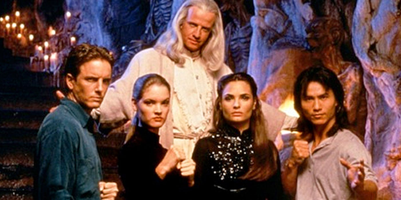 Johnny Cage (Linden Ashby), Sonya Blade (Bridgette Wilson), Princess Kitana (Talisa Soto), Liu Kang (Robin Shou) and Lord Rayden (Christopher Lambert) in Mortal Kombat (1995)