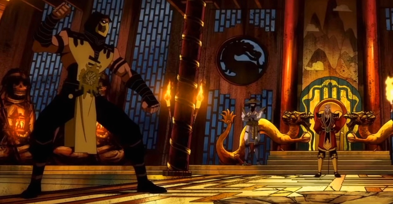 Scorpion (voiced by Patrick Seitz) shows down with Shang Tsung (voiced by Aritt Butler) in Mortal Kombat Legends: Scorpion's Revenge (2020)
