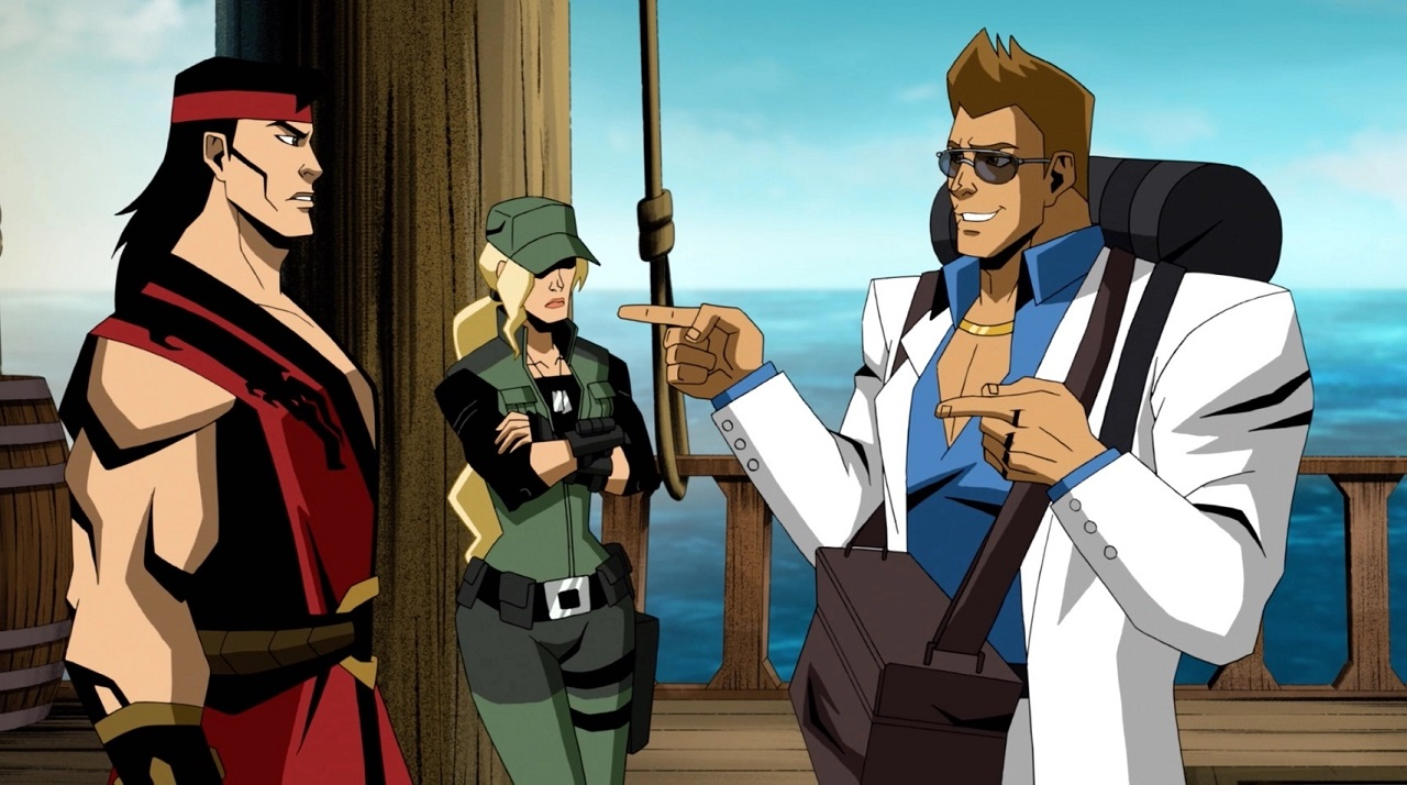 Liu Kang (viced by Jordan Rodrigues0, Sonya Blade (voiced by Jennifer Carpenter) and Johnny Cage (voiced by Joel McHale) in Mortal Kombat Legends: Scorpion's Revenge (2020)
