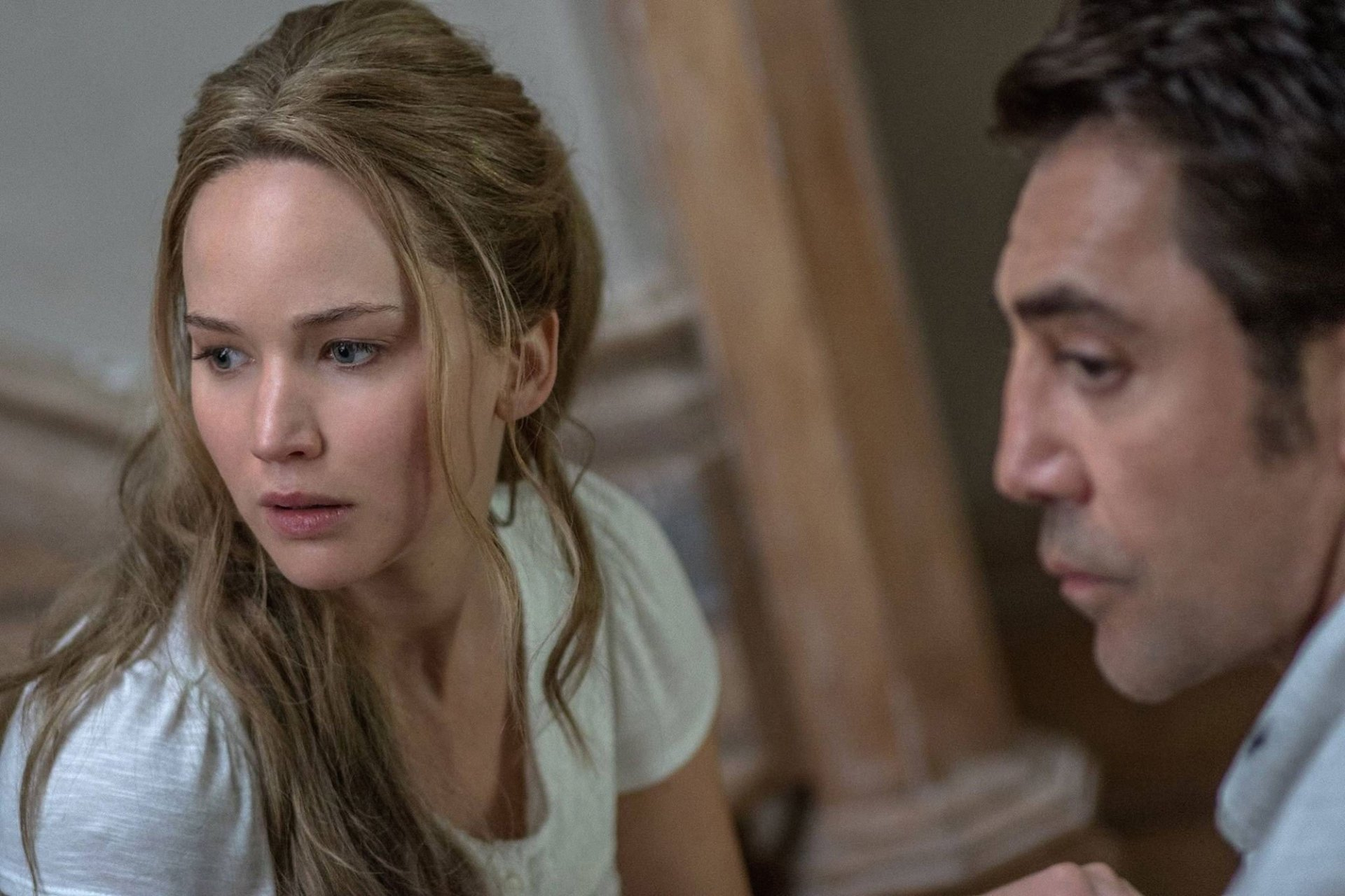 Jennifer Lawrence as Mother and Javier Bardem as Him in Mother! (2017)