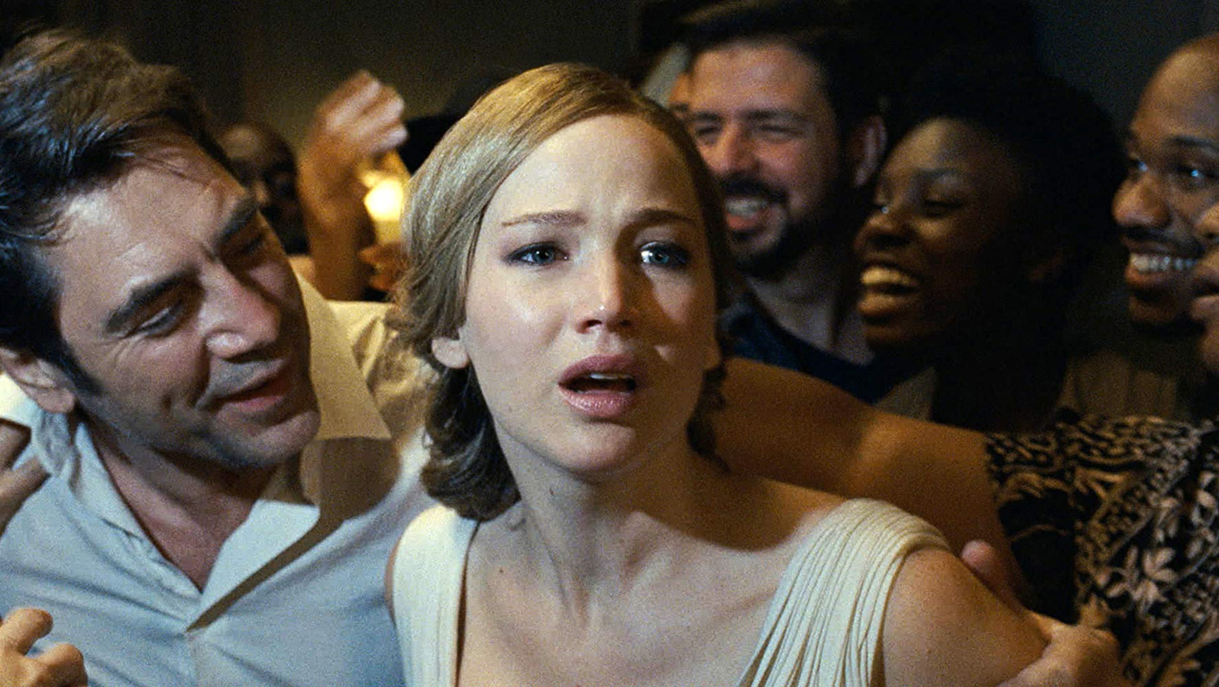 Mother (Jennifer Lawrence), increasingly distressed as crowds overrun her house in Mother! (2017)
