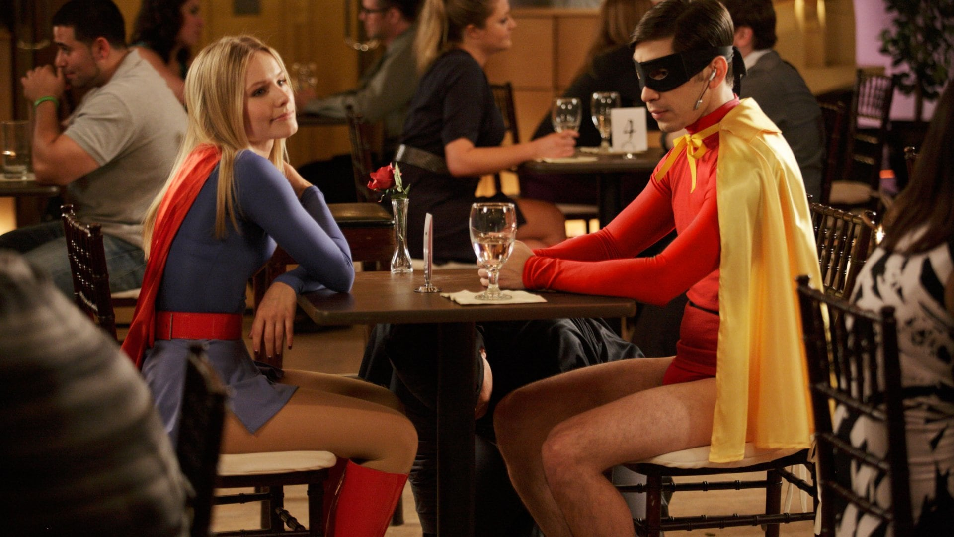 Supergirl (Kristen Bell) and Robin (Justin Long) in Movie 43 (2013)