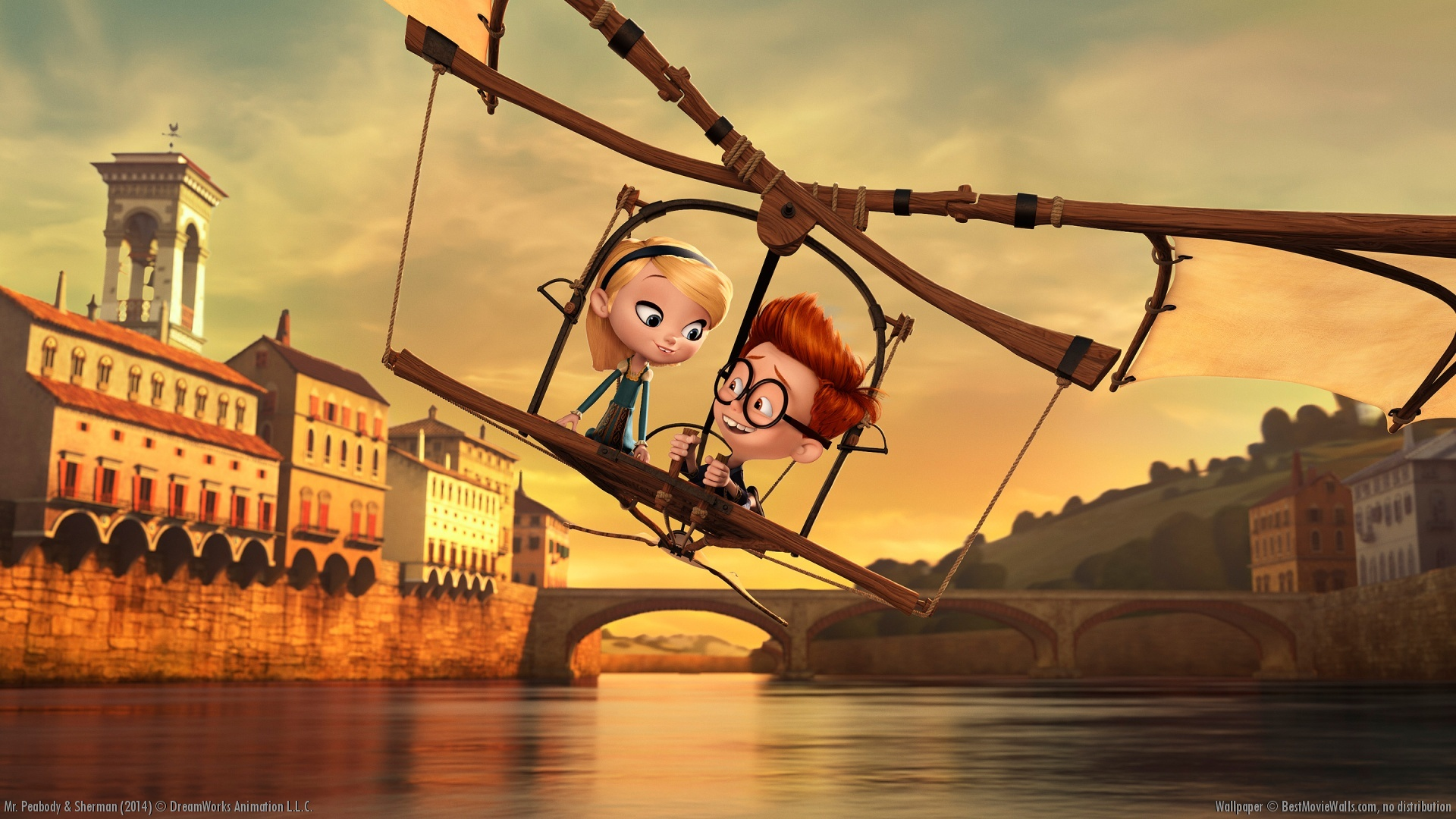 Penny (voiced by Ariel Winter) and Sherman (voiced by Max Charles) take a ride on Leonardo Da Vinci's flying machine in Mr. Peabody & Sherman (2014)
