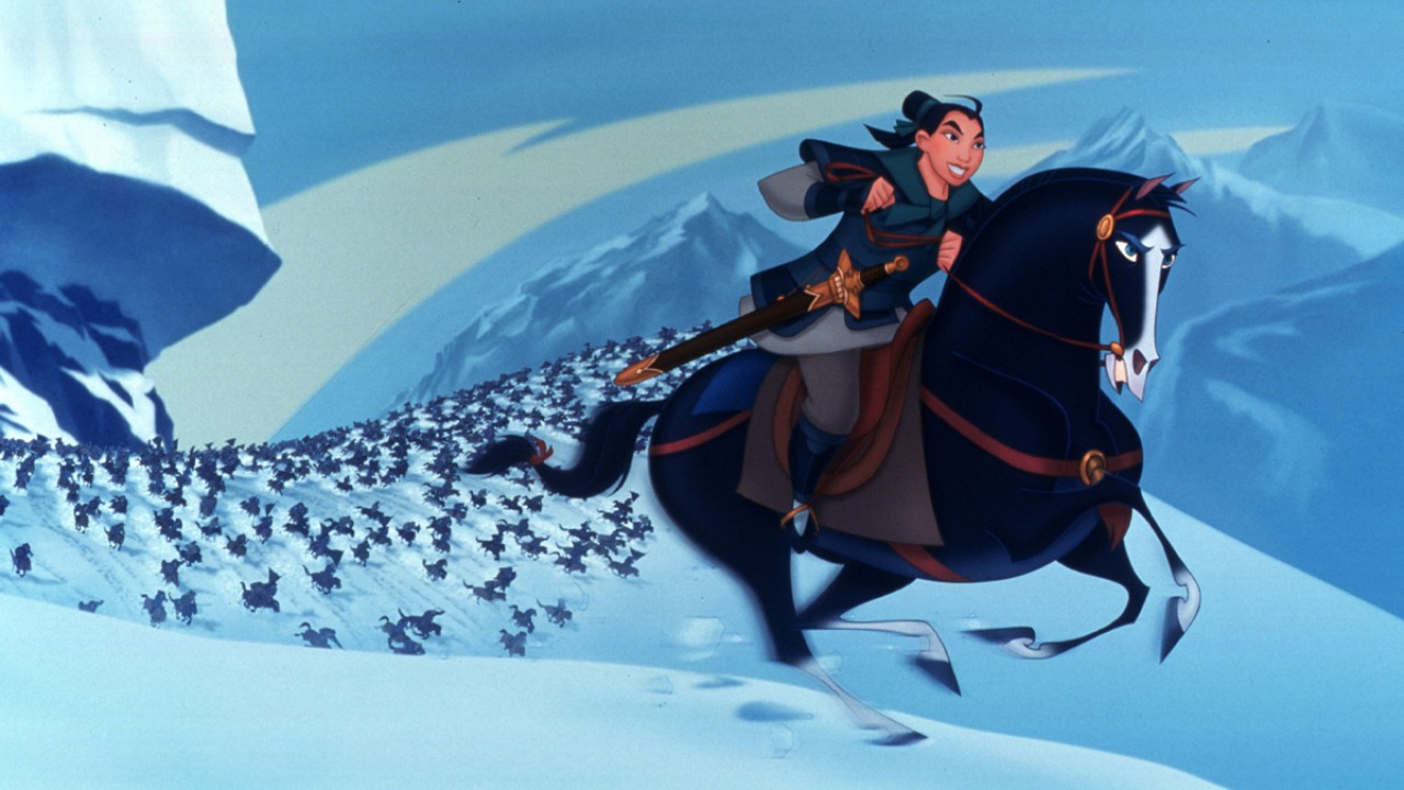 Disguised as a male, Mulan (voiced by Ming-Na Wen) leads the army into battle in Mulan (1998)