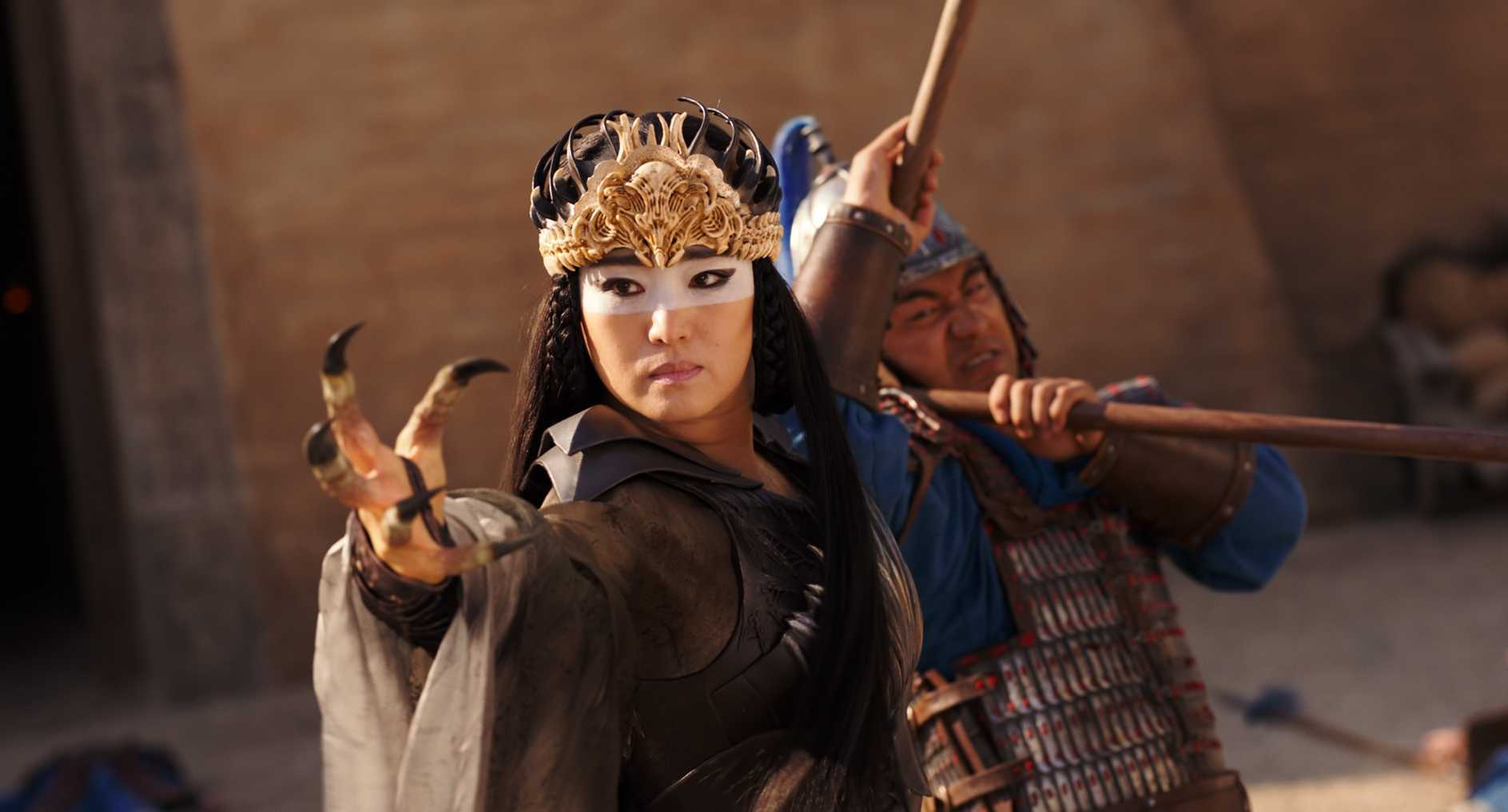 Gong Li as the sorceress Xiannlang in Mulan (2020)