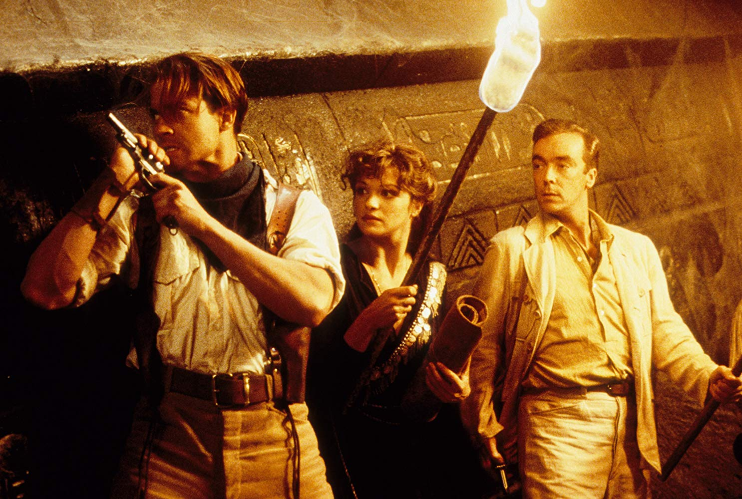 Brendan Fraser, Rachel Weisz and John Hannah venture into a tomb in The Mummy (1999)