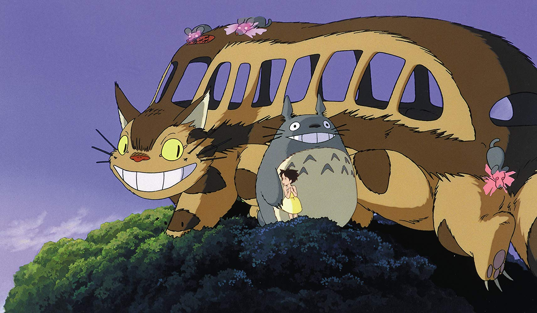 The arrival of the cat bus in My Neighbor Totoro (1988)