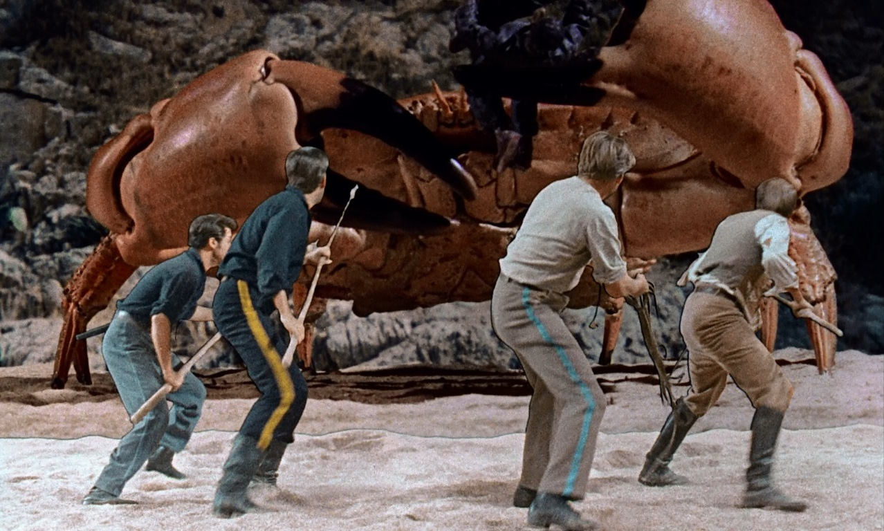 Desert island castaways vs a giant crab in Mysterious Island (1961)