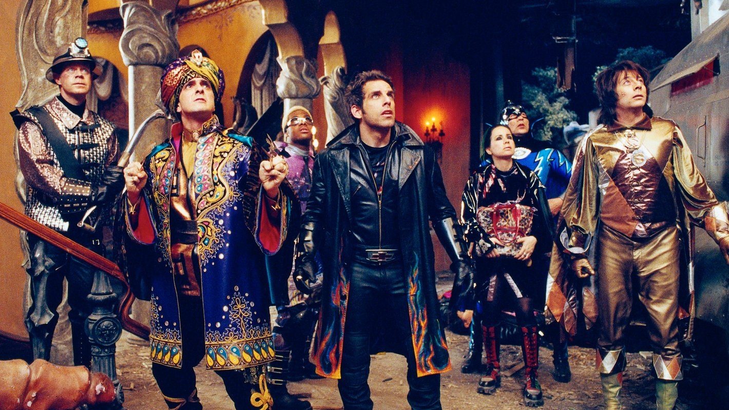 The Mystery Men - (l to r) The Shoveller (William H. Macy), The Blue Rajah (Hank Azaria), Invisible Boy (Kel Mitchel), Mr Furious (Ben Stiller), The Bowler (Janeane Garofalo), The Sphinx (Wes Studi) and The Spleen (Paul Reubens) in Mystery Man (1999)