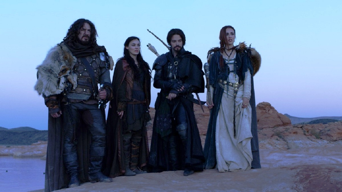 (l to r) The warrior Thane (Adam Johnson), the slave girl/magic user Marek (Melanie Stone), the thief Dagen (Jake Stormoen) and the priestess Teela (Nicola Poesner) in Mythica: A Quest for Heroes (2014)