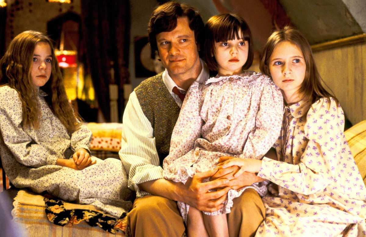 Colin Firth with his children Jennifer Rae Daykin, Holly Gibbs and Eliza Bennett in Nanny McPhee (2005)