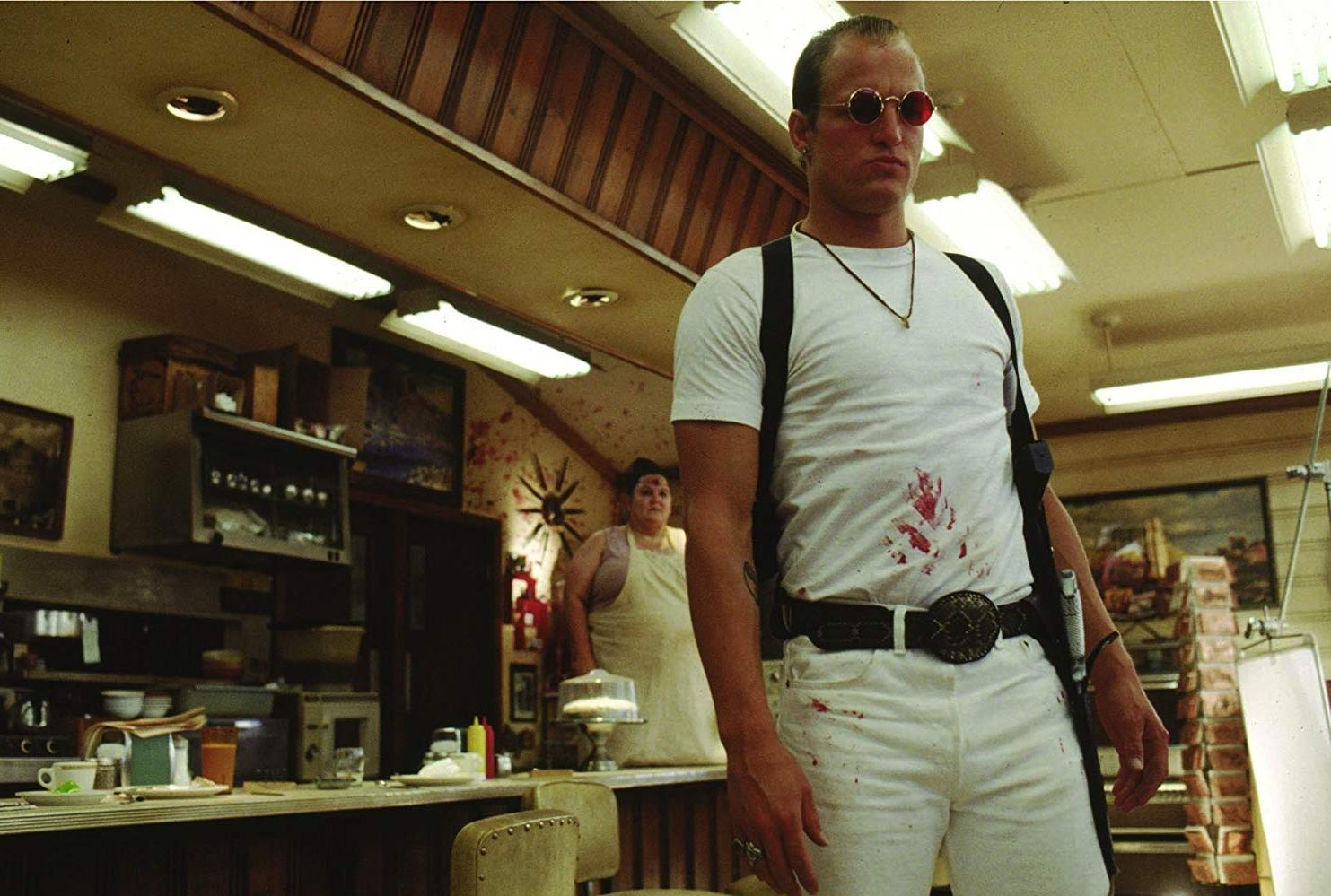 Woody Harrelson shoots up a cafe in Oliver Stone's bravura opening sequence of Natural Born Killers (1994)