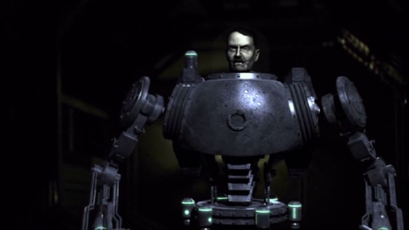 Adolf Hitler (James Maxwell) preserved in a robot body in Nazis at the Center of the Earth (2012)
