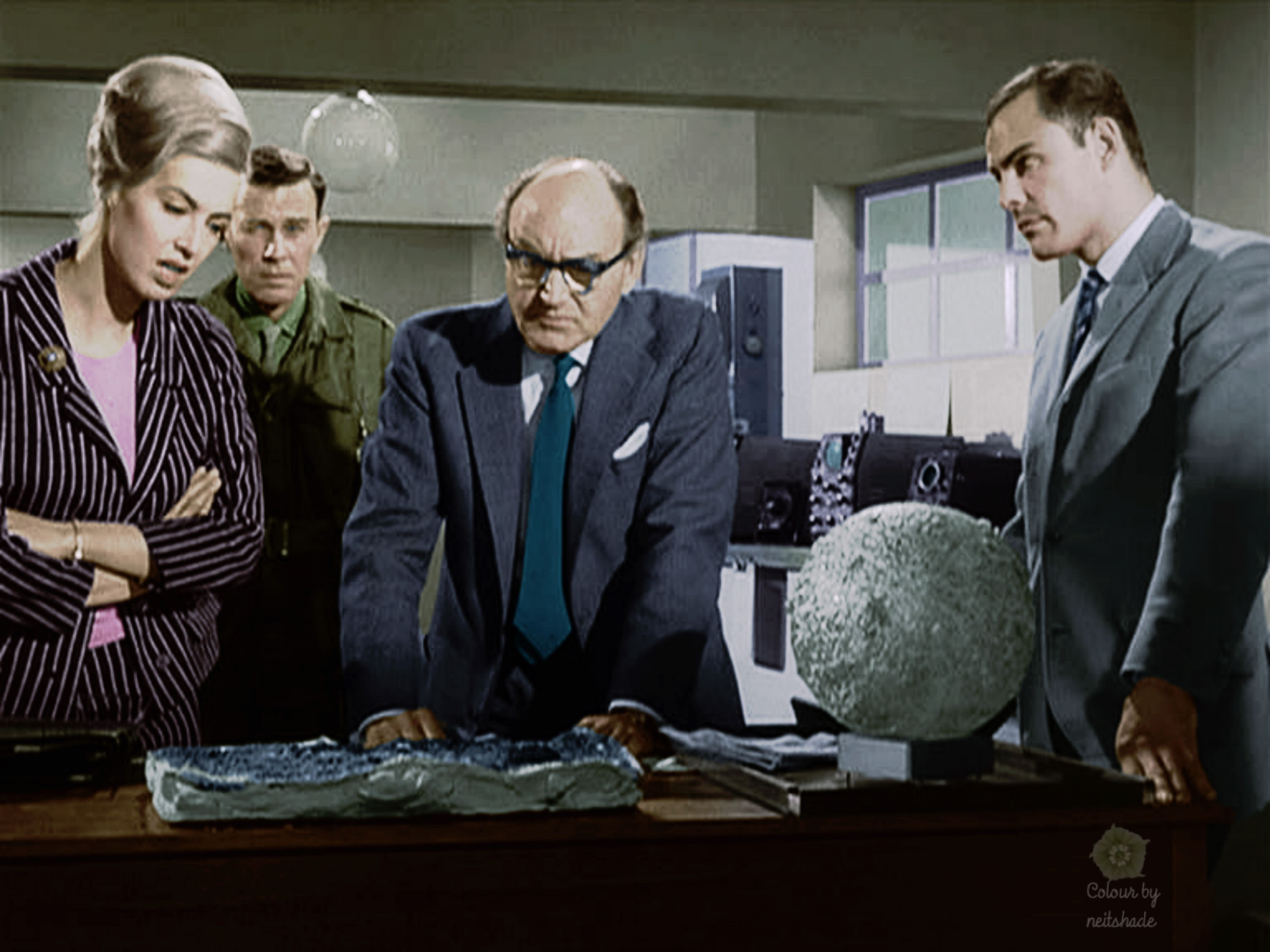 (l to r) Patricia Haines, John Carson, Maurice Danham and John Saxon in The Night Caller (1965)